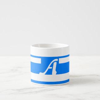 Azure Blue and White Random Stripes Monogram Espresso Cups