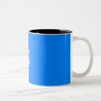 Azure Blue and White Sunrays Monogram Coffee Mugs