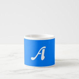 Azure Blue and White Sunrays Monogram Espresso Cup