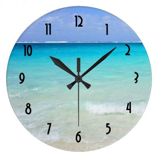 Azure Blue Caribbean Tropical Beach Large Clock