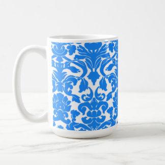 Azure Blue Damask Pattern Coffee Mugs