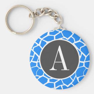Azure Blue Giraffe Animal Print Keychains