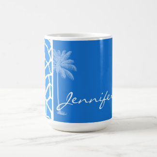 Azure Blue Giraffe Animal Print; Summer Palm Basic White Mug