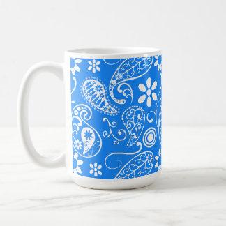 Azure Blue Paisley; Floral Basic White Mug