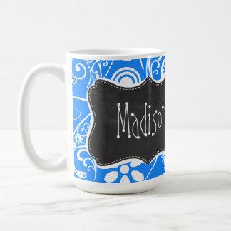 Azure Blue Paisley; Floral; Chalkboard Basic White Mug