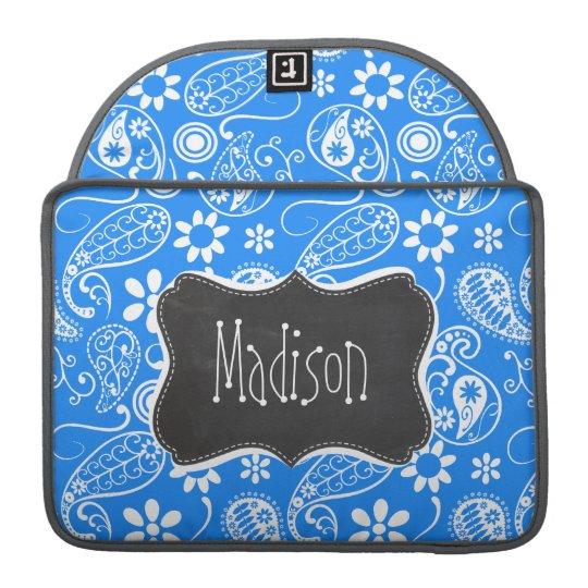 Azure Blue Paisley; Floral; Chalkboard Sleeve For MacBook Pro