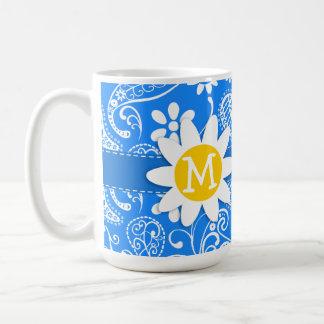 Azure Blue Paisley; Floral; Daisy Basic White Mug