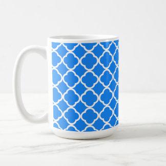 Azure Blue Quatrefoil Basic White Mug