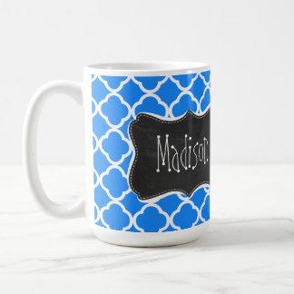 Azure Blue Quatrefoil; Retro Chalkboard Classic White Coffee Mug