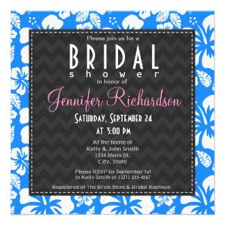 Azure Blue Tropical Hibiscus Bridal Shower Custom Announcements