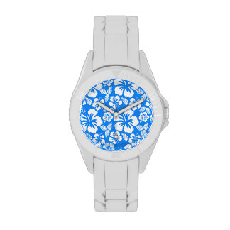 Azure Blue Tropical Hibiscus Watches