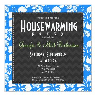 Azure Blue Tropical Hibiscus Housewarming Party 13 Cm X 13 Cm Square Invitation Card