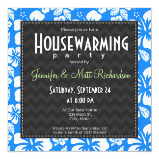 """Azure Blue Tropical Hibiscus Housewarming Party 5.25"""" Square Invitation Card"""
