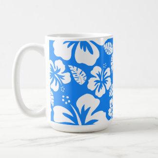 Azure Blue Tropical Hibiscus Classic White Coffee Mug