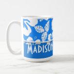 Azure Blue Tropical Hibiscus; Personalised Basic White Mug