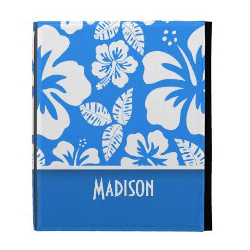 Azure Blue Tropical Hibiscus; Personalized iPad Folio Cases
