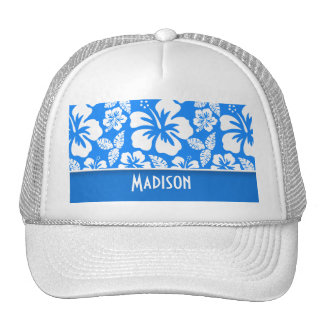 Azure Blue Tropical Hibiscus; Personalized Mesh Hat