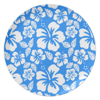 Azure Blue Tropical Hibiscus Plate