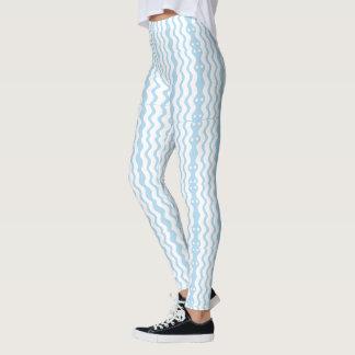 Azure Blue & White Graphic Leggings
