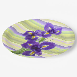 Azure Blue White Lime Green Red Stripes Pattern Paper Plate