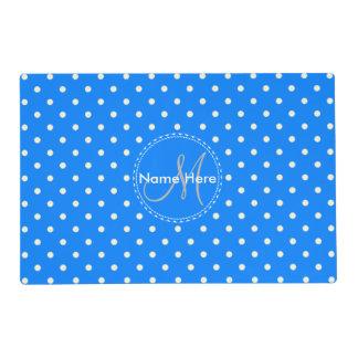 Azure Blue & White Polka Dots. Custom Name Laminated Placemat