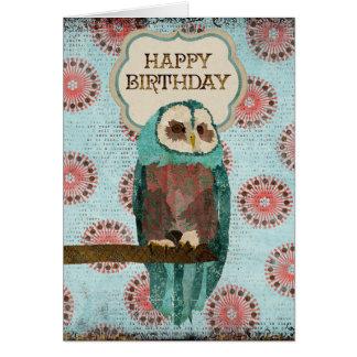 Azure & Blush  Owl Birthday  Card