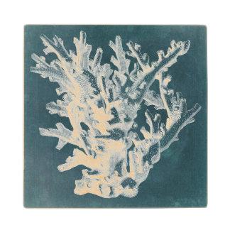 Azure Coral I Wood Coaster