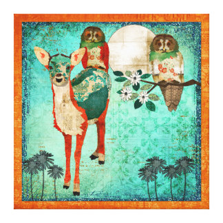 Azure Fawn & Rose Owls Moonlight Canvas Art Stretched Canvas Print