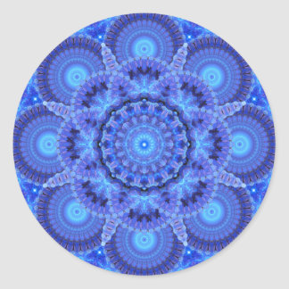 Azure Harmony Mandala Round Sticker