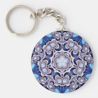 Azure Jewel Kaleidoscope Basic Round Button Key Ring
