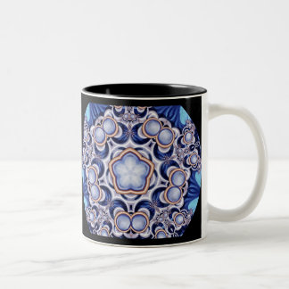 Azure Jewel Kaleidoscope Two-Tone Coffee Mug