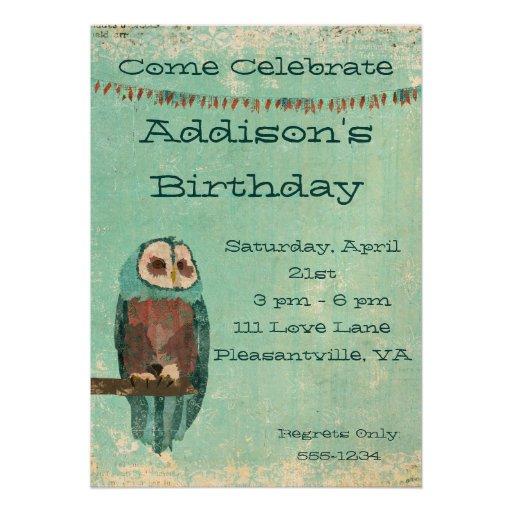 Azure  Owl  Birthday Invitation