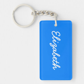 Azure Solid Color Customize It Double-Sided Rectangular Acrylic Key Ring
