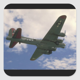 B17 Flying Overhead_WWII Planes Square Sticker
