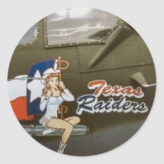 B17 Texas Raiders Nose Art Round Sticker