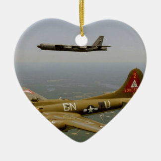 B17G and B52H Bombers in Flight Christmas Ornament