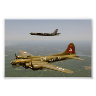 B17G and B52H Bombers in Flight Photo
