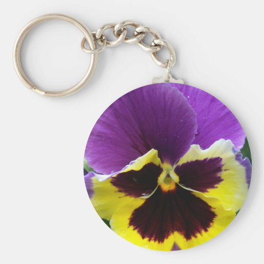 b1 Purple Yellow Purple Pansy Basic Round Button Key Ring
