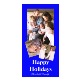 B21 Bouncy Bright Blue Color Customizable Personalized Photo Card