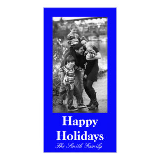 B21 Bouncy Bright Blue Color Customizable Photo Cards