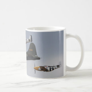 b-17 and p-51 mustangs classic white coffee mug