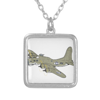 B-17 flying fortress square pendant necklace