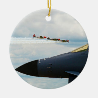 B-1 Bomber and WWII Fighters Christmas Ornament
