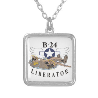 B-24 Liberator Silver Plated Necklace