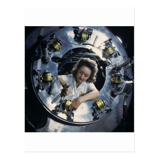 B-25 Bomber Engine Lady, 1942 Postcard
