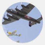 B-25 Liberator P-51 Mustang Round Stickers