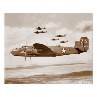 B-25 Mitchell Bomber flight poster