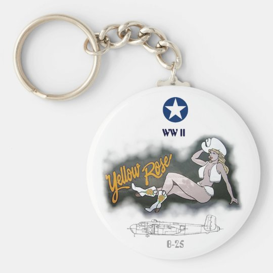 B-25 Mitchell Bomber Nose Art Key Ring