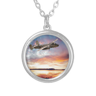 B-25 Mitchell Round Pendant Necklace