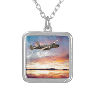 B-25 Mitchell Square Pendant Necklace